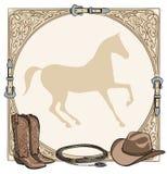 Herramienta equina de la tachuela del montar a caballo del caballo del vaquero en el marco occidental de la correa de cuero stock de ilustración