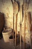 Herramientas agrícolas de madera antiguas foto de archivo libre de regalías