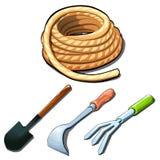 Herramientas agrícolas, palas, rastrillo, raspador, cuerda stock de ilustración