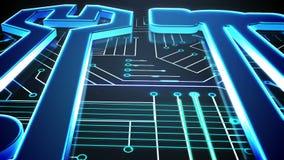 Herramientas azules en diseño de la placa de circuito stock de ilustración