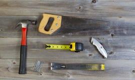 Herramientas básicas de la mano para la reparación casera Fotografía de archivo