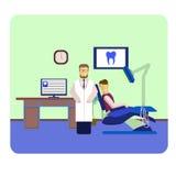 Herramientas coloridas planas del dentista, pacientes y dentales Imágenes de archivo libres de regalías