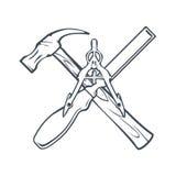 Herramientas cruzadas de la mano para Carpenrty o etiqueta e insignias de la construcción Vector Imagen de archivo libre de regalías