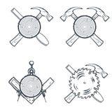 Herramientas cruzadas de la mano para Carpenrty o etiquetas e insignias de la construcción Vector Foto de archivo libre de regalías