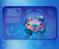 Herramientas de análisis en concepto del vector del trabajo en equipo del negocio ilustración del vector