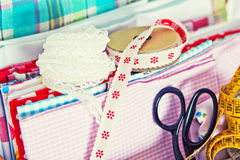 Herramientas de costura Imagen de archivo libre de regalías