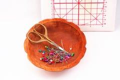 Herramientas de costura de la costurera Imagen de archivo libre de regalías