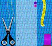 Herramientas de costura de la tela del ejemplo, tijeras, cinta, hilo Fotos de archivo libres de regalías