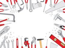 Herramientas de funcionamiento en el fondo blanco Imagenes de archivo