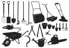 Herramientas de jardín de la silueta Imagen de archivo libre de regalías
