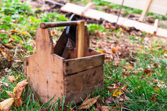 Herramientas de la caja de madera Fotografía de archivo libre de regalías