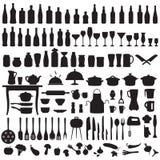 Herramientas de la cocina, cocinando iconos Fotografía de archivo libre de regalías