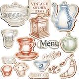 Herramientas de la cocina de la vendimia Imágenes de archivo libres de regalías