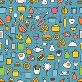 Herramientas de la cocina e iconos de la silueta de la comida Imágenes de archivo libres de regalías