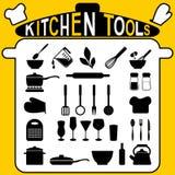 Herramientas de la cocina - iconos fijados. Imagen de archivo libre de regalías