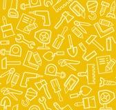 Herramientas de la construcción, fondo, inconsútil, amarillo Foto de archivo libre de regalías