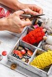 Herramientas de la costurera para la costura Foto de archivo libre de regalías