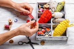 Herramientas de la costurera para la costura Imagen de archivo