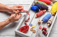 Herramientas de la costurera para la costura Fotografía de archivo libre de regalías