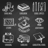 Herramientas de la escuela en sistema del tablero de tiza Fotografía de archivo libre de regalías