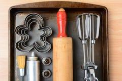 Herramientas de la hornada de la galleta del primer Imagen de archivo