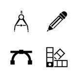 Herramientas de la ingeniería Iconos relacionados simples del vector Fotografía de archivo