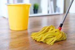 Herramientas de la limpieza en el entarimado Imagen de archivo