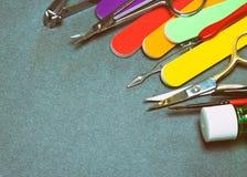 Herramientas de la manicura con el espacio de la copia imagenes de archivo