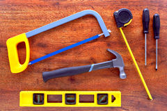 Herramientas de la manitas de DIY en el banco de trabajo Fotografía de archivo libre de regalías
