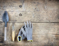 Herramientas de la mano del jardín Foto de archivo libre de regalías