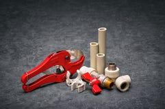 Herramientas de la mano y recambios para la central depuradora Imagen de archivo libre de regalías