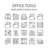 HERRAMIENTAS DE LA OFICINA: Iconos del esquema, pictograma y colección del símbolo libre illustration