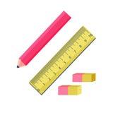 Herramientas de la oficina La línea de steratelnye del lápiz y del borrador del grafito stock de ilustración