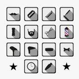 Herramientas de la peluquería de caballeros e iconos del corte de pelo fijados Imagenes de archivo