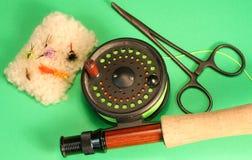 Herramientas de la pesca de mosca Foto de archivo libre de regalías