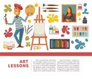 Herramientas de la pintura del artista y cartel artístico de los materiales stock de ilustración