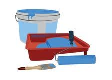 Herramientas de la pintura y latas de la pintura Imagen de archivo libre de regalías