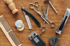 Herramientas de la preparación del ` s de los hombres Barber Shop Equipment And Supplies Imagen de archivo
