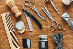 Herramientas de la preparación del ` s de los hombres Barber Shop Equipment And Supplies Imagenes de archivo