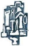 Herramientas de la trabajo de metalistería y de la carpintería Foto de archivo libre de regalías