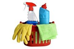 Herramientas de limpieza, aisladas en el fondo blanco imagen de archivo libre de regalías