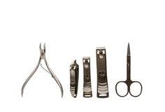 Herramientas de los accesorios de una manicura Imágenes de archivo libres de regalías