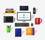 Herramientas de los diseñadores stock de ilustración