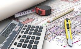 Herramientas de los planes de los arquitectos stock de ilustración