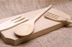 Herramientas de madera de la cocina Imagen de archivo libre de regalías