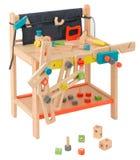 Herramientas de madera del juguete del carpintero Fotos de archivo libres de regalías