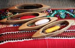 Herramientas de madera del telar Imagenes de archivo