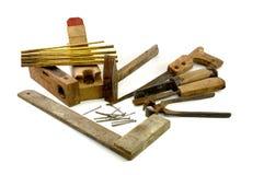 Herramientas de madera viejas del carpintero Fotos de archivo libres de regalías