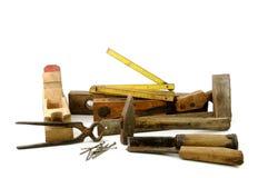 Herramientas de madera viejas del carpintero Fotografía de archivo