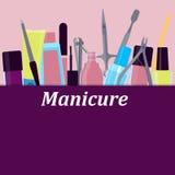 Herramientas del cartel para la manicura Imagen de archivo